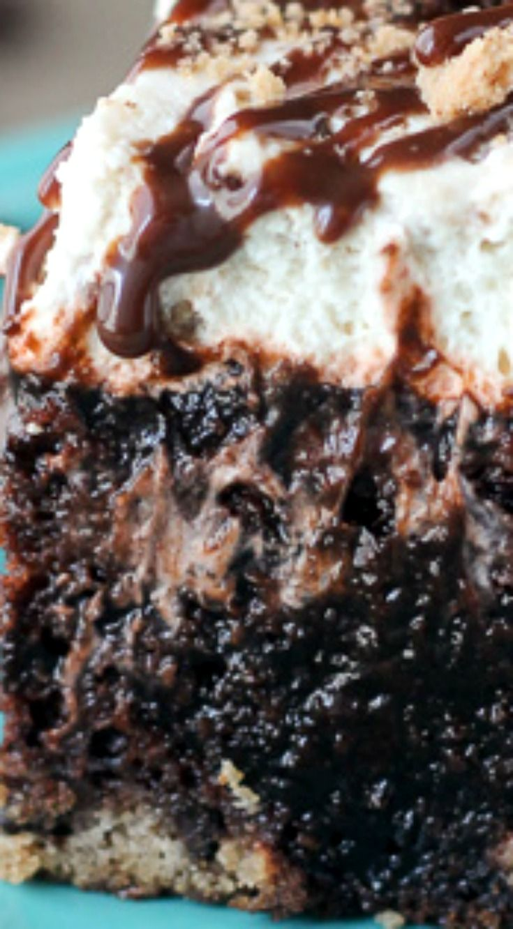 Chocolate Chip Cookie Poke Cake ~ This chocolate cake has a chocolate chip cookie crust, it's filled with chocolate pudding and topped with a chocolate chip cookie mousse.