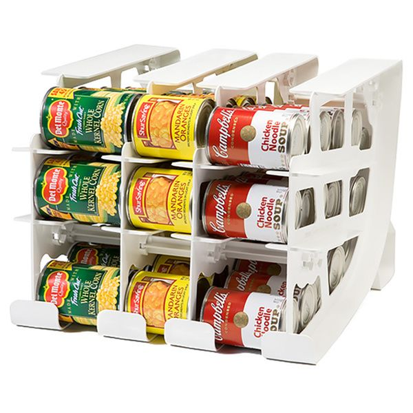 The FIFO first-in, first-out can tracker system is a versatile way to organize your food pantry and save you from expiring cans. Its easy-fit-design allows you to store a variety of can sizes, from sm