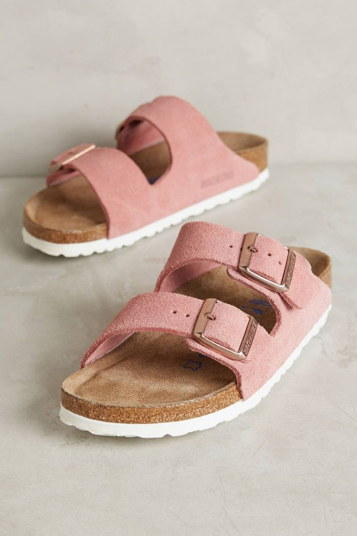 Some classics never got old - Case in point, the Birkenstock Arizona, in a fresh rose gold with white soles. | 1000s of comfortable women's shoes reviewed at www.BarkingDogShoes.com