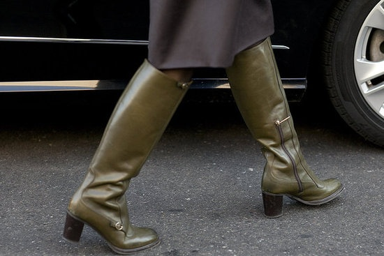 Olive green boots - way more exciting than black or brown, but equally wearable