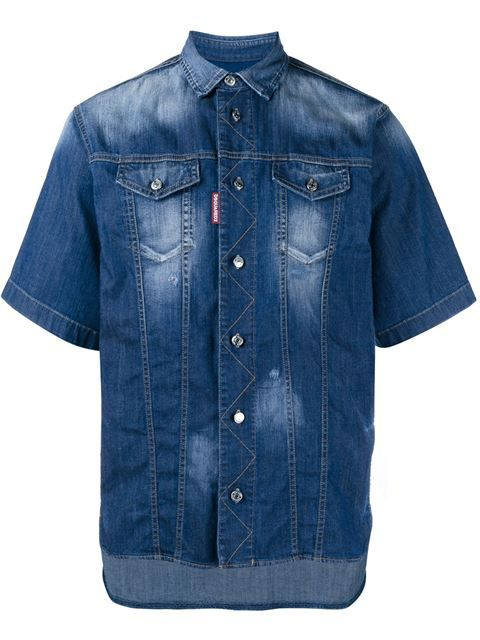 Shop Dsquared2 Short Sleeved Denim Shirt in Browns from the world's best independent boutiques at farfetch.com. Shop 300 boutiques at one address.