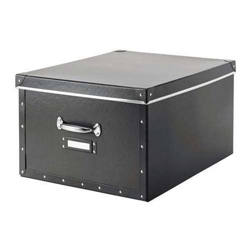FJÄLLA Kannellinen laatikko - tummanharmaa - IKEA