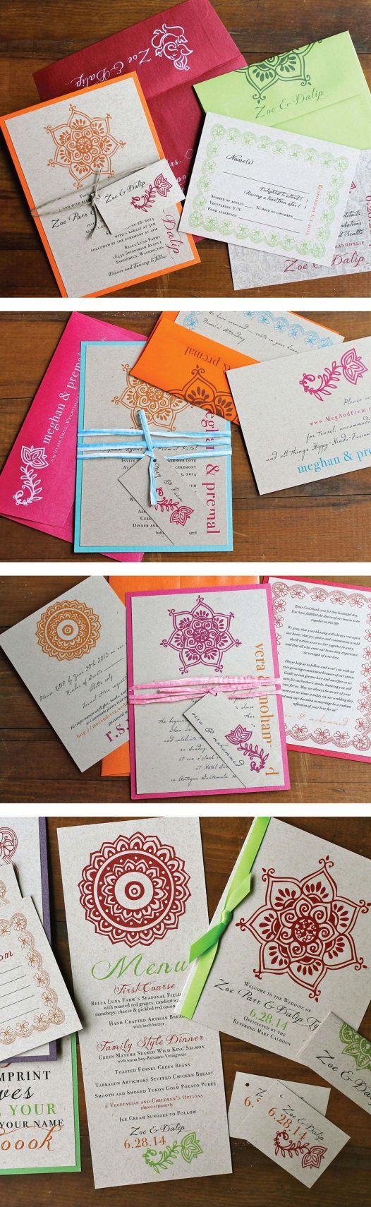 Modern Indian Wedding Invitations - Beacon Lane - Favorite Client Customizations!
