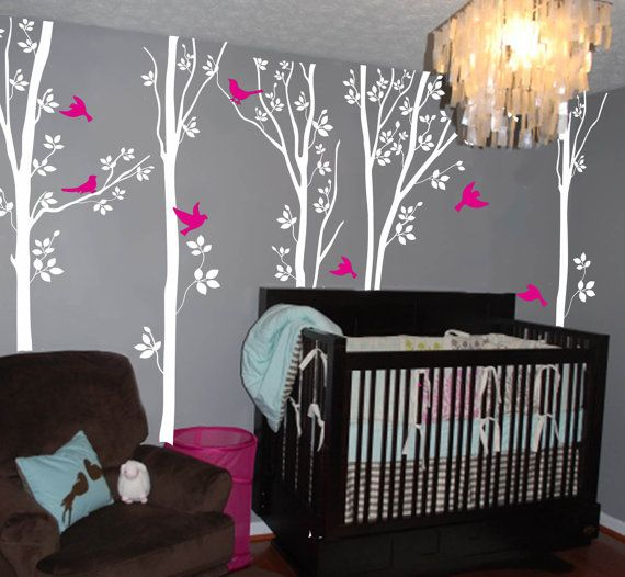 White tree wall decal birch tree wall decals by NatureHomeArts, $62.00