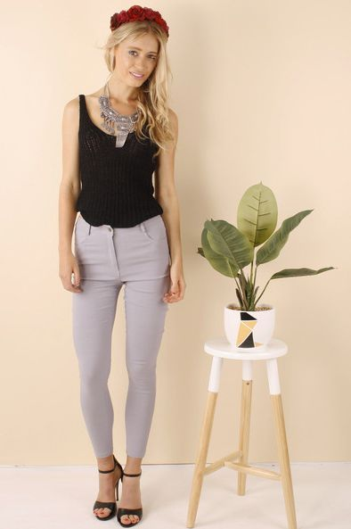 LEVORA GABRIELLA PANTS GREY  A$60.00  wink collection - Pants and Jeans at winkcollection.com.au