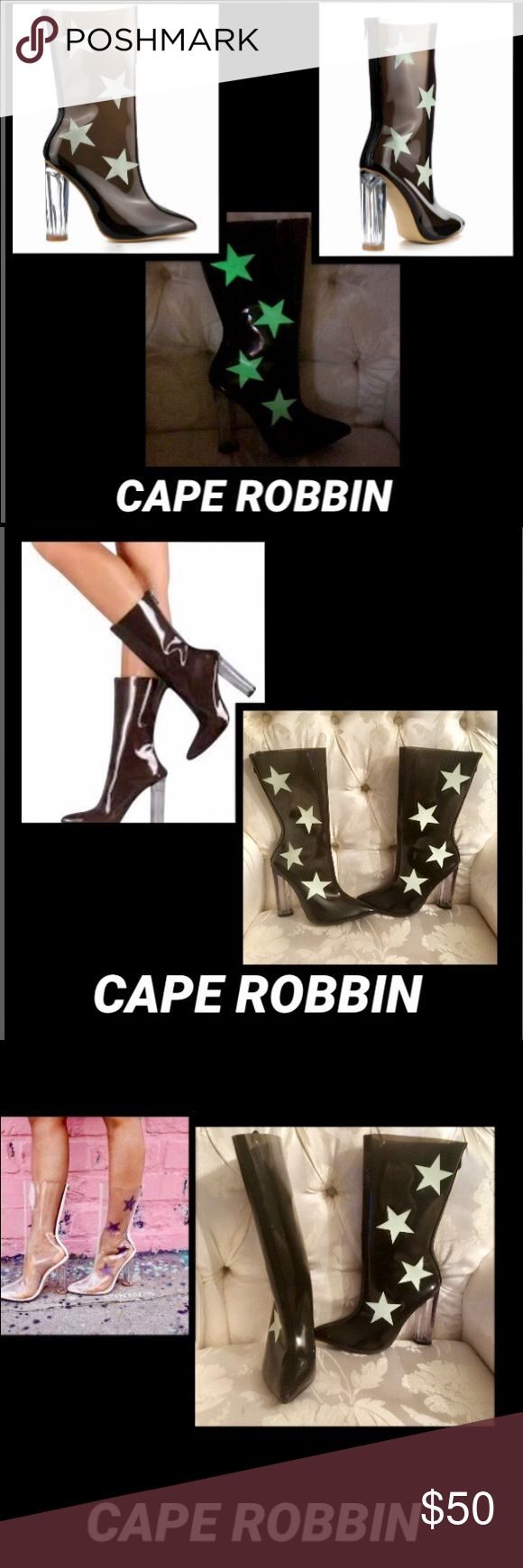 🦋Cape Robbin Ella Glow inthe Dark Star LuciteBoot Cape Robbin Ella Glow in the Dark Star Lucite Boot These ultra cool boots feature a totally transparent construction that lets ur pedi peek through, pointed toe, glow in the dark star appliques clear lucite block heel, and zip back closures Sz 9 Cape Robbin Shoes Ankle Boots & Booties