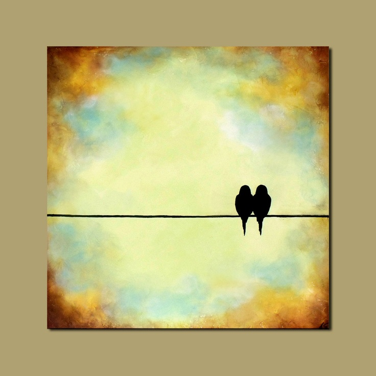 Large Wall Art (Birds on a wire painting) On Sale. $275.00, via Etsy.