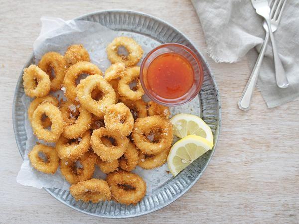 Calamari lightly fried in a salt and pepper seasoning.