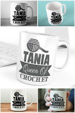 Personalised Queen of Crochet Mug Customised With Name Gift For Crocheter Craft  | eBay