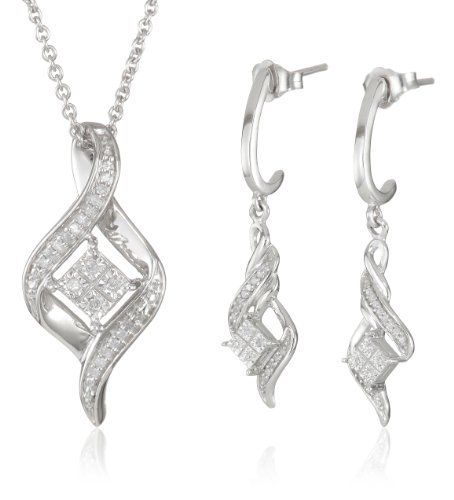 """Sterling Silver Diamond Twist Shape Pendant and Earrings Box Set (1/10 Cttw, I-J Color, I2-I3 Clarity), 18"""" Amazon Curated Collection. $100.00. Width of Earrings 0.36 Inch, Length of Earrings 1.49 Inch, Wdth of Pendant 0.42 Inch, Height of Pendant 0.90 Inch. About Diamonds. The total diamond carat weight listed is approximate. Variances may be up to .01 carats.. Made in India. Save 57%!"""