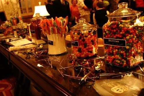 colourful candy bar with labels on the jars