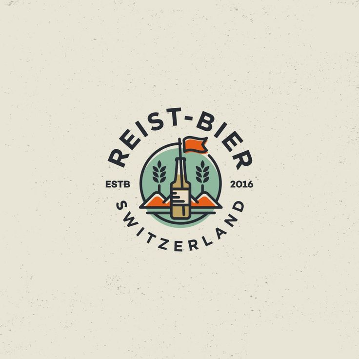 Beverage logo created by spoonlancer for Reist-Bier. Simple lines and flat design colors create a memorable design. #logo #brewery #branding