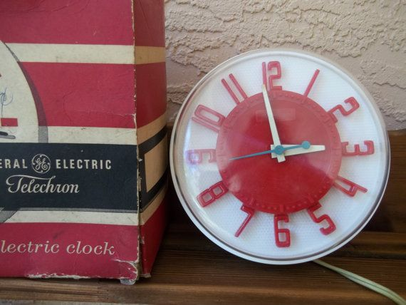 Vintage 50's GE Telechron RED Kitchen Electric Wall Clock