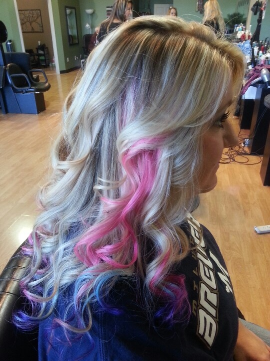 pink, purple and blue ombre hair Thinking about doing this ...