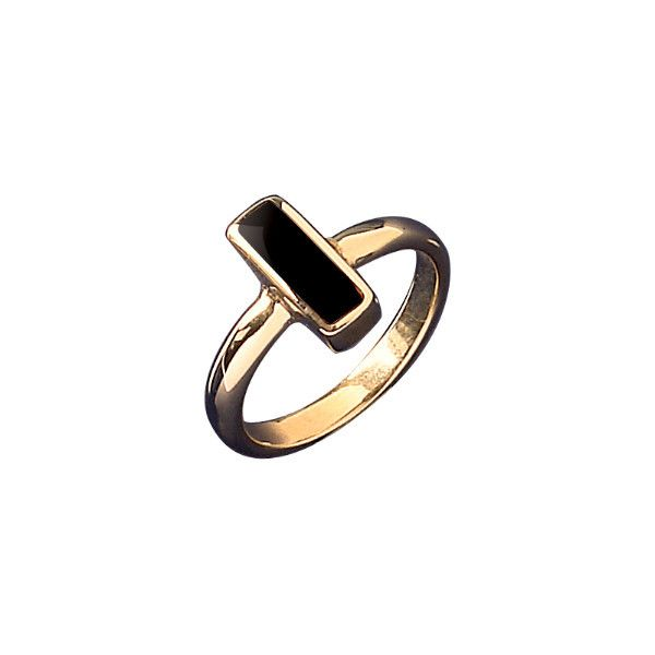 W Hamond Ring Whitby Jet And Gold Dinky Oblong R405 | W Hamond - The Original Whitby Jet Store Est.1860