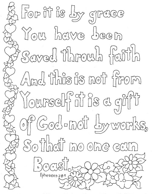 Coloring Pages for Kids by Mr. Adron: Ephesians 2:8-9 Print and Color Page for Kids. More like this at the blog: http://coloringpagesbymradron.blogspot.com/2013/05/ephesians-28-9-print-and-color-page-for.html