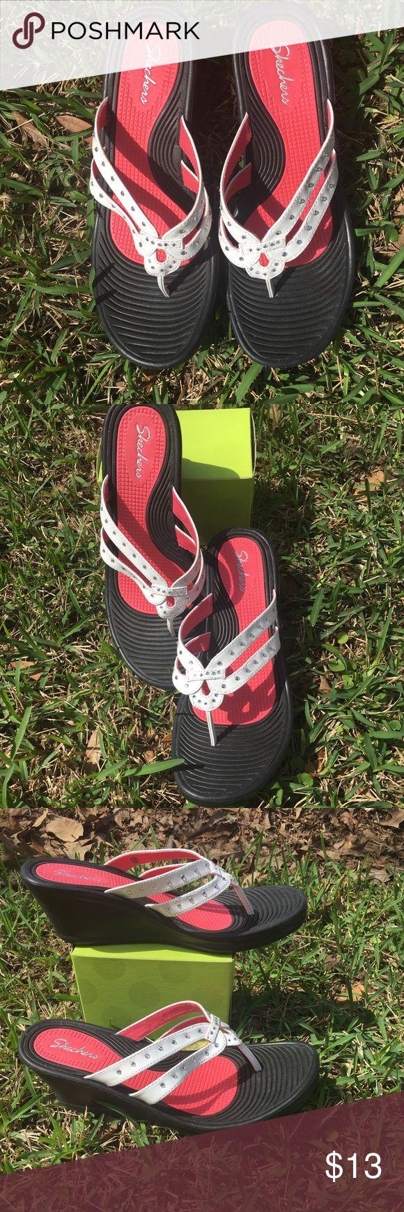 Skechers Rubber Flip Flops White with rhinestones Skechers Wedges. NWOT Skechers Shoes