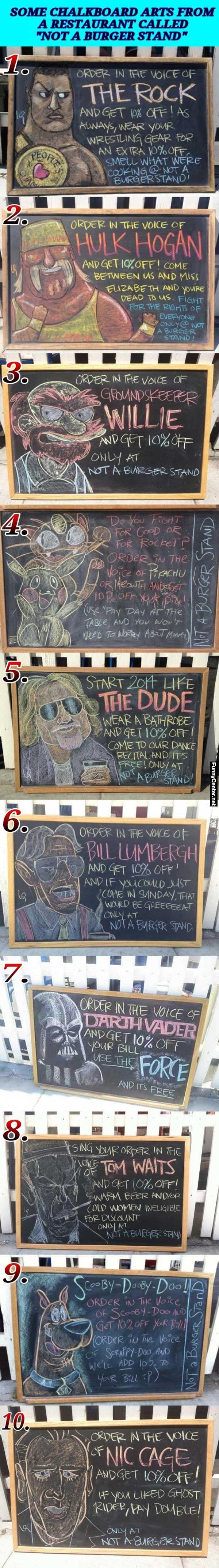Chalkboard Art - Not A Burger Stand Restaurant