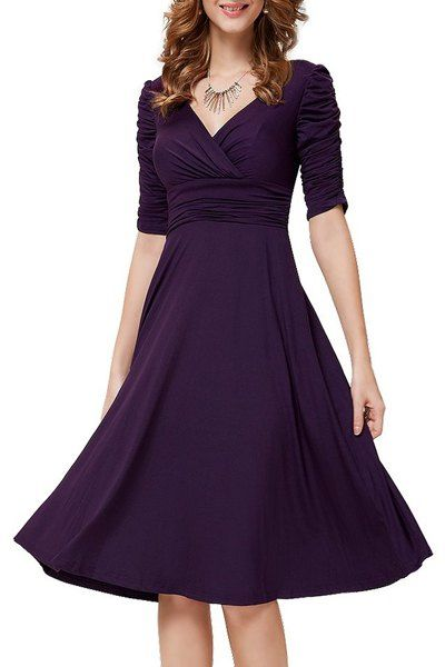 $12.80 Charming V-Neck 1/2 Sleeve Solid Color Ruched Dress For Women FOR ME