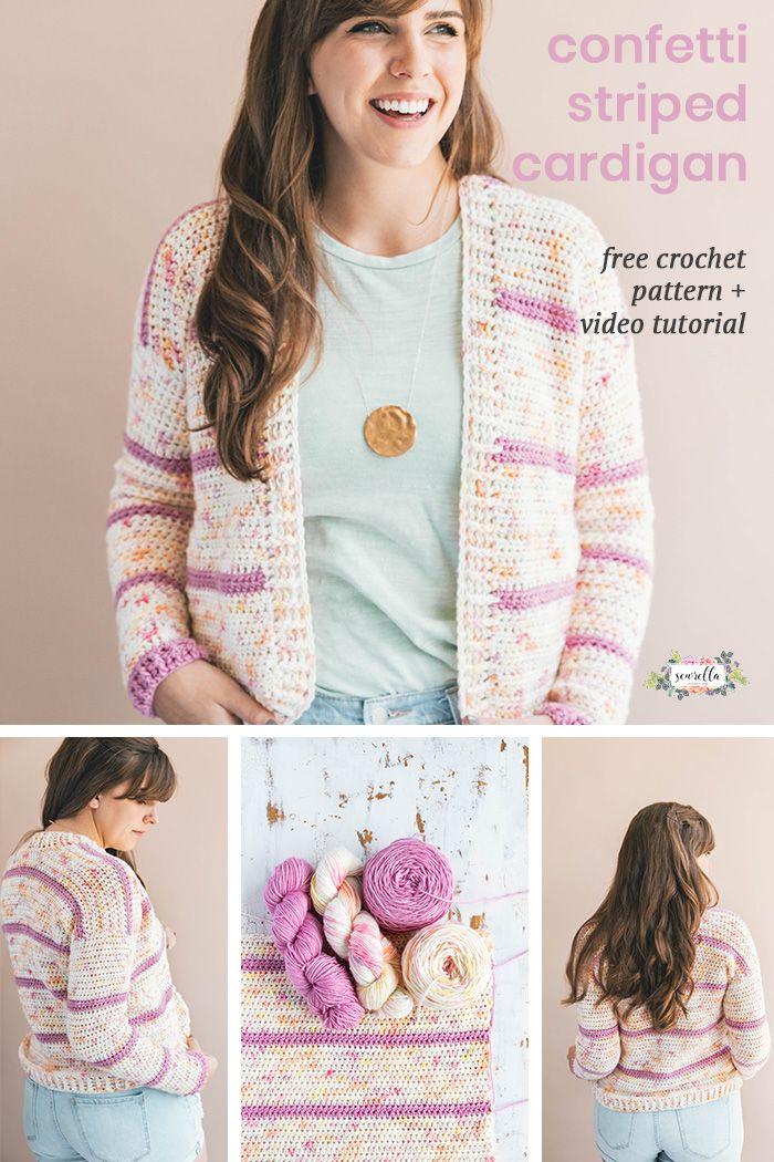 386ebff31 Crochet this striped confetti cardigan sweater easy and quick with my free  pattern and video tutorial! I use luxury hand dyed yarn and simple stitches  to ...