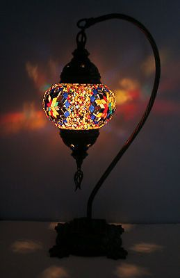 TURKISH MOROCCAN STYLE MOSAIC TABLE TOP LAMP HANGING SWAN BED SIDE LIGHT XMAS