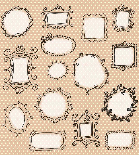 Doodle Frames Clip Art Pack // Unique Hand drawn Frames // Scrapbooking // Photography Blog // Digital Photo Frames // Commercial Use