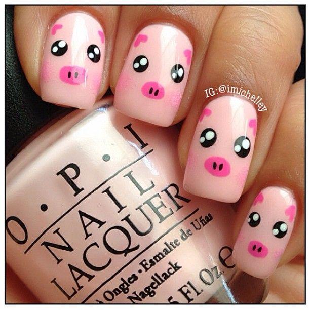 pig by  imichelley  #nail #nails #nailart