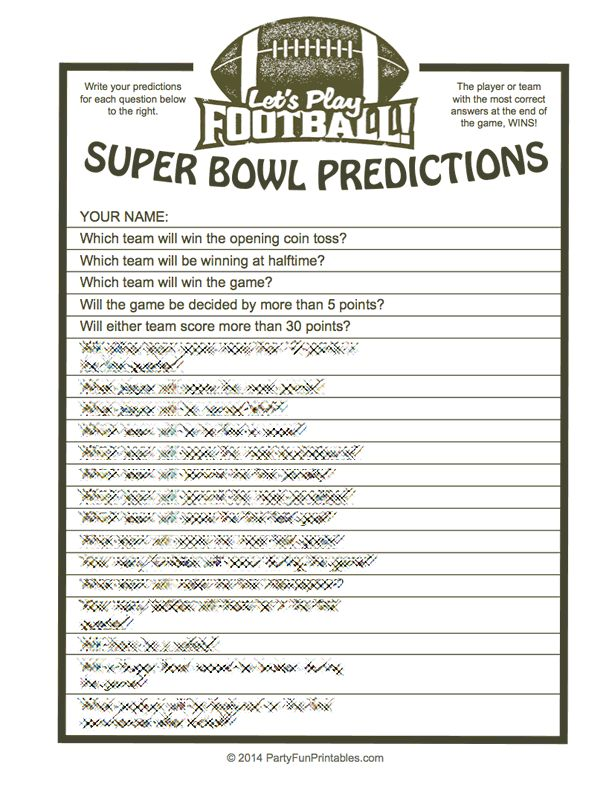 Which of your guests predicts the most correct outcomes, for the not so obvious 'statistics', in this Super Bowl party game?