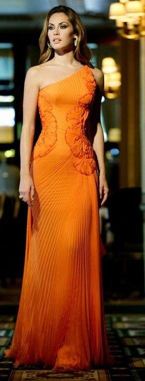 Haute Couture orange maxi one shoulder  dress women fashion outfit clothing style apparel @roressclothes closet ideas
