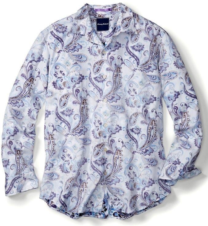 $138 Nwt Tommy Bahama T315644 Paulo Paisley Cotton Silk Shirt Polar Sky Mens L | Clothing, Shoes & Accessories, Men's Clothing, Casual Shirts | eBay!