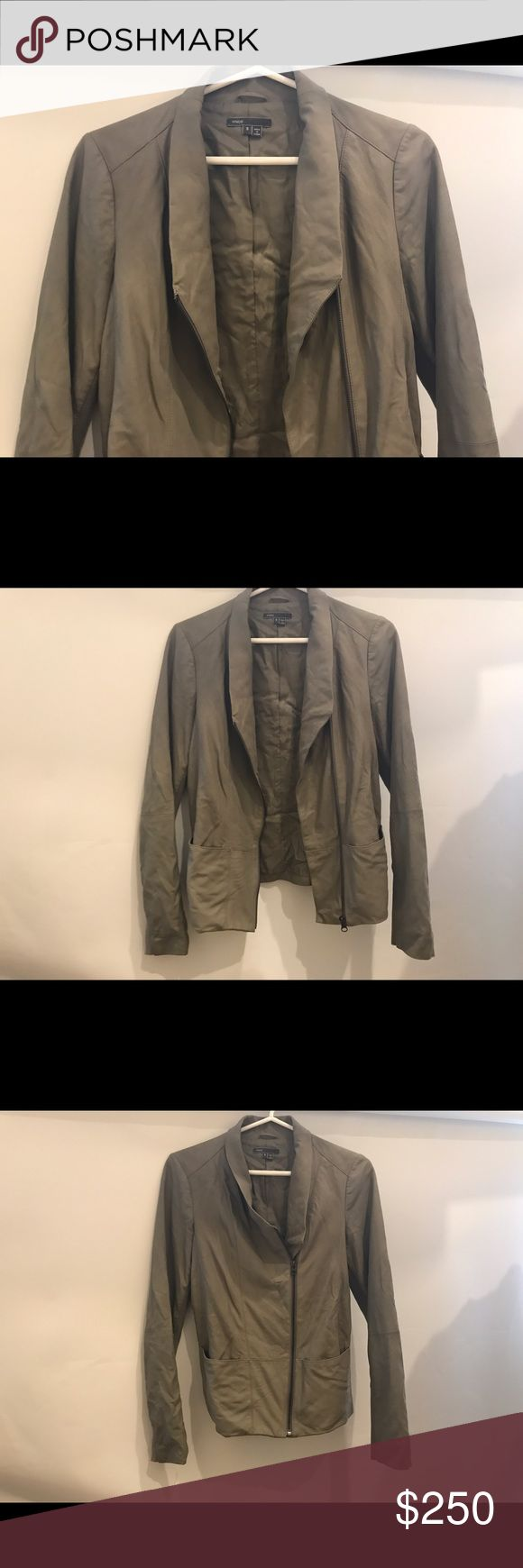 Vince Leather Jacket Size S - Barely Worn Vince leather jacket / olive / off gray color. Size Small. 100% leather. Worn maybe twice. Vince Jackets & Coats