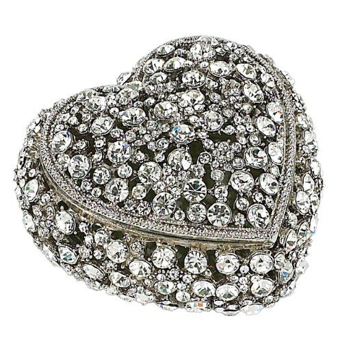 Olivia Riegel Crystal Heart Box Hand-enameled and set Swarovski crystals. Uniquely crafted. Elegant signature gift box included. Box measures 1.75-inches tall by 3-inches long by 3-inches wide.  #OliviaRiegel #Home