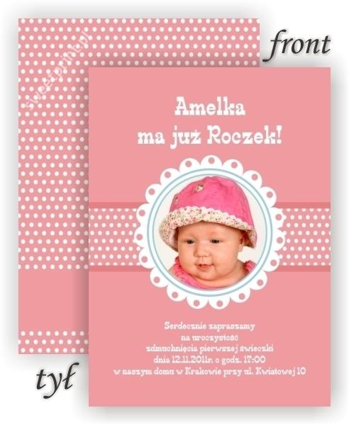 Personalizowane zaproszenia na roczek dla dziewczynki.