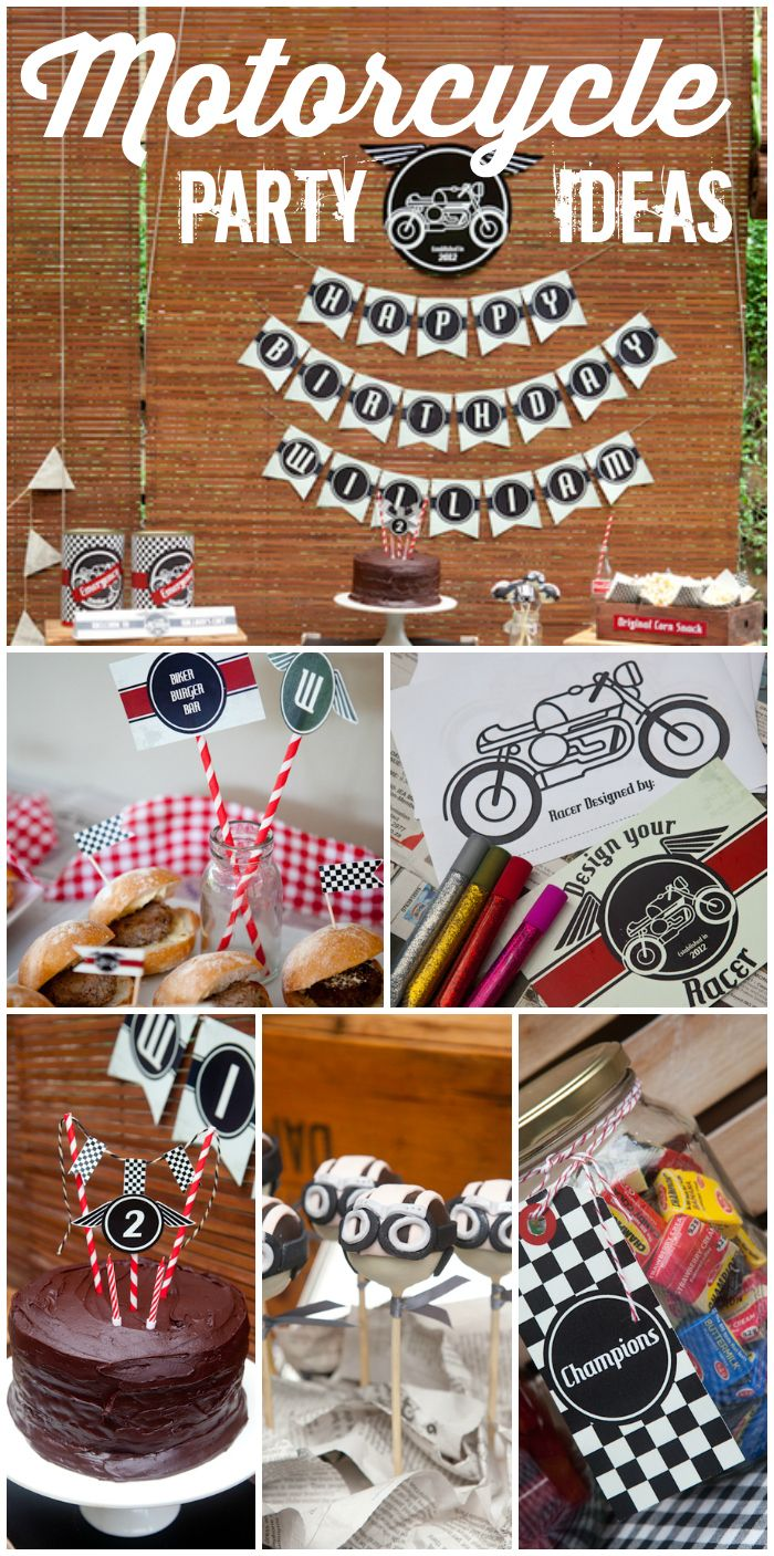 This Cafe Racer motorcycle boy birthday party features vintage candy, an art activity, and chocolate cake!  See more party ideas at CatchMyParty.com!