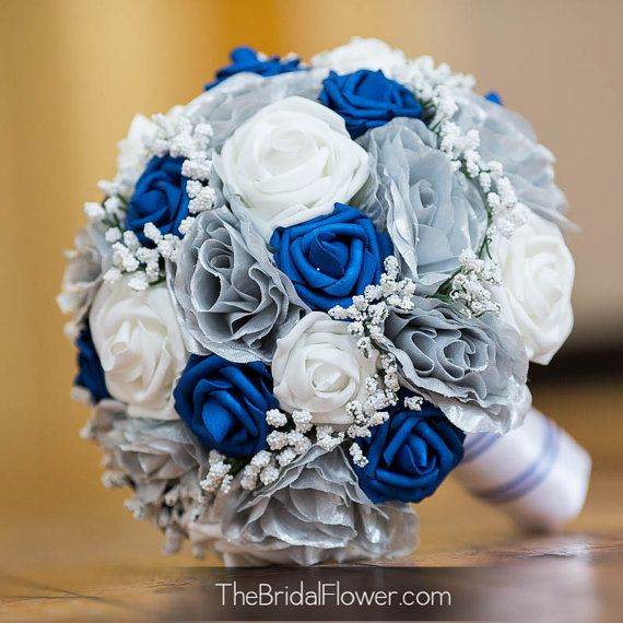 Royal Blue And Silver Wedding Bridal Bouquet By
