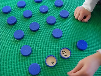 Caps and lids matching game - great way to reuse for #EarthDay