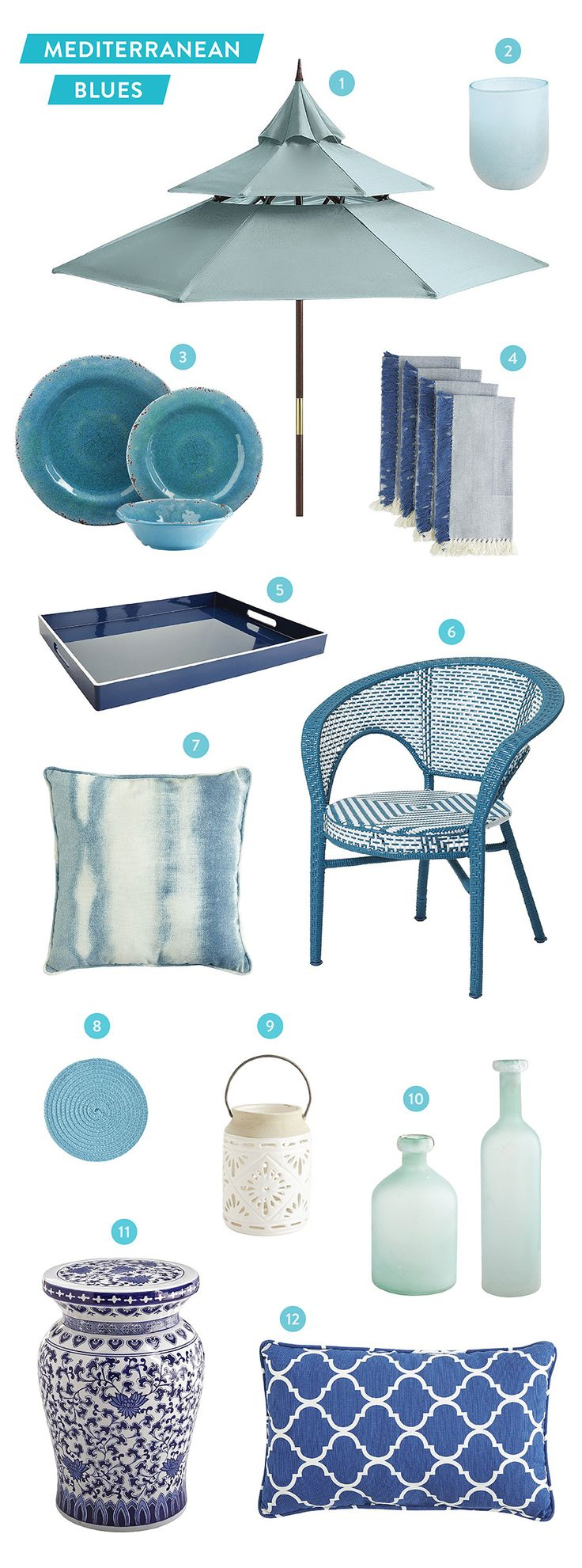 We're dreaming of Mediterranean Blues thanks to Pier 1: http://www.stylemepretty.com/living/2015/05/19/outdoor-inspiration-in-a-sea-of-blue-with-pier-1-imports/