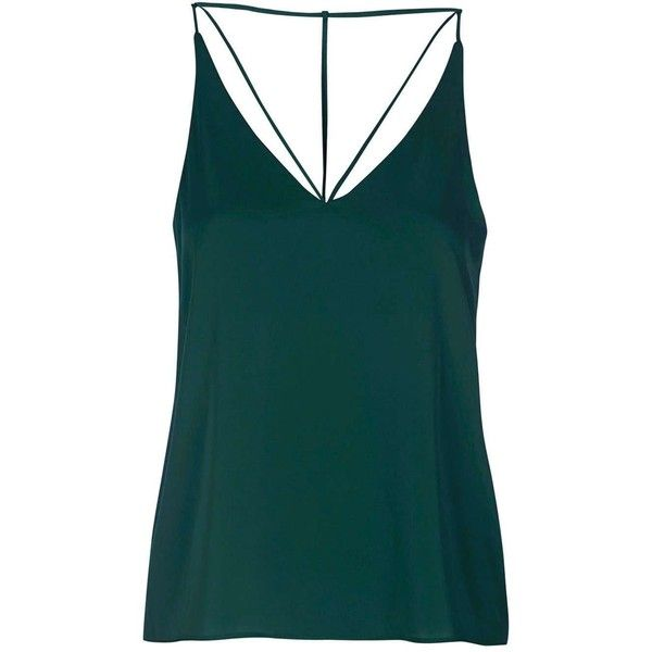 Strappy Plunge Cami Top - Topshop ❤ liked on Polyvore featuring tops, shirts, tanks, topshop, strappy tank, plunge shirt, cami shirt, strappy cami and green tank