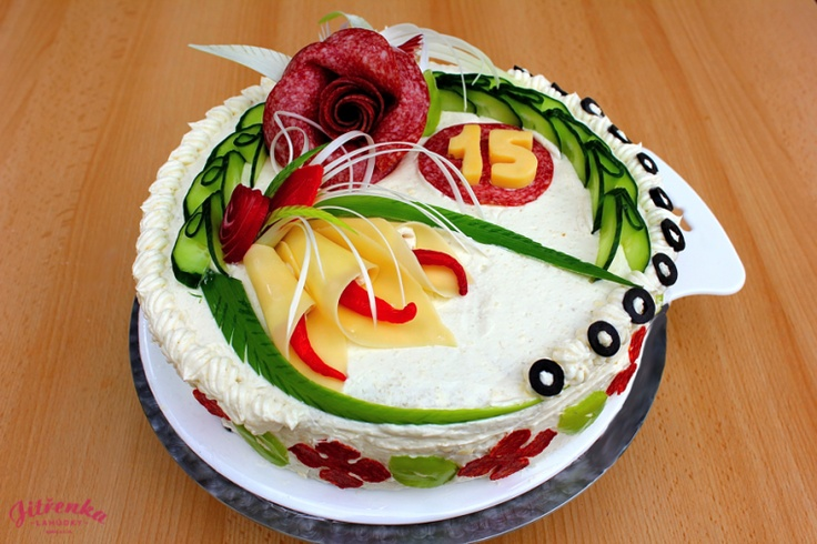 Beautiful sandwich cake, follow one of the other sandwich cakes recipes pinned to get an idea of making this one.