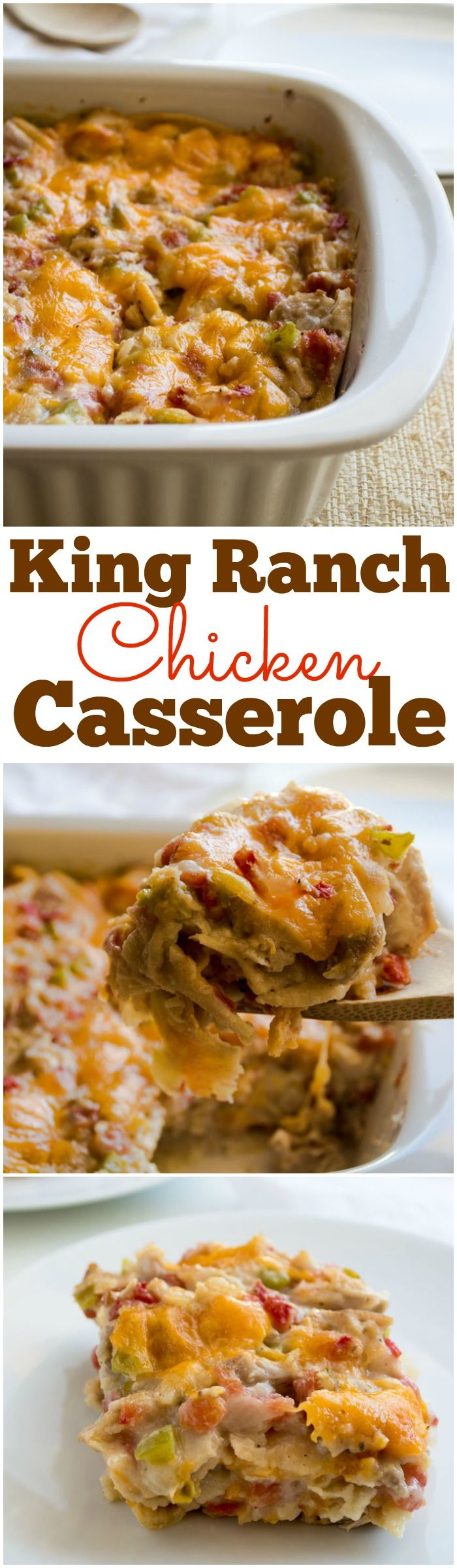 This lighter version of a classic is sure to please everyone who gathers around your family table! This creamy, cheesy, King Ranch Chicken Casserole is bursting with chunks of chicken, tomatoes, green chiles, and bell peppers.  #ad #smartmeals