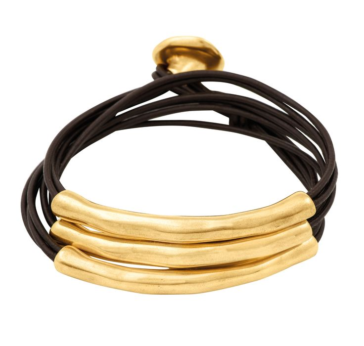 Woman bracelet with double row of leather strands and tubular details mix coated in gold.