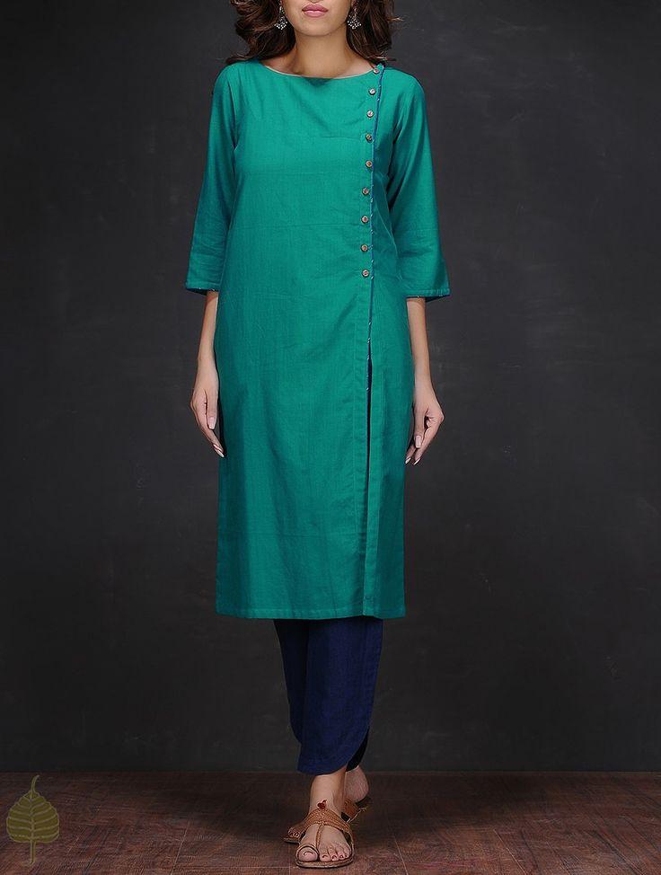 Buy Turquoise Boat Neck Handloom Cotton Kurta by Jaypore Women Kurtas The Fall Edit Handwoven Ikat and solid dresses jackets pants Online at Jaypore.com