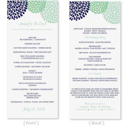 Wedding Program Template - Instant Download - EDIT YOUR WORDING - Chrysanthemum (Navy & Mint) Tea Length - Microsoft Word Format