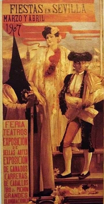 Cartel de Semana Santa y Feria de Abril, 1907. José García Ramos. http://apartmentsevilleflornaranja.blogspot.com.es/