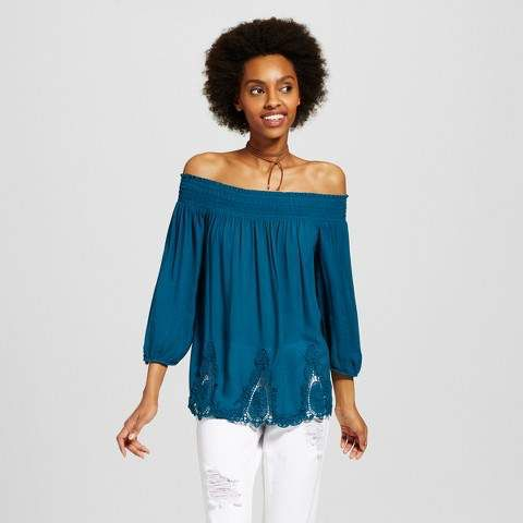 ffc77eba3e2c0d Xhilaration Women s Battenburg Lace Off the Shoulder Top - Xhilaration  (Juniors )