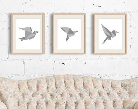 Geometric Bird Wall Print Printable Origami Art Origami Bird