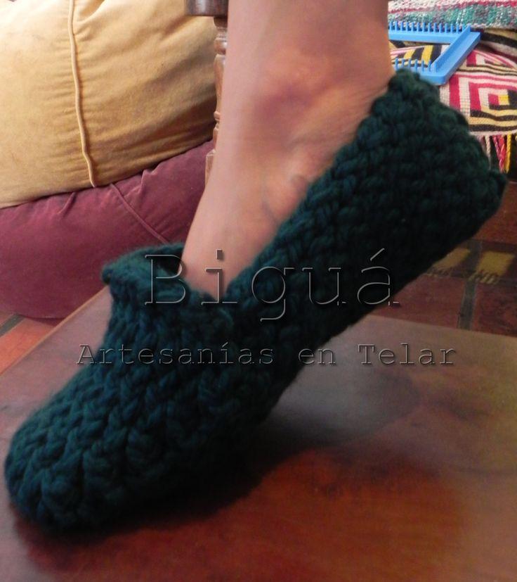 Pantuflas tejidas en #telar redondo