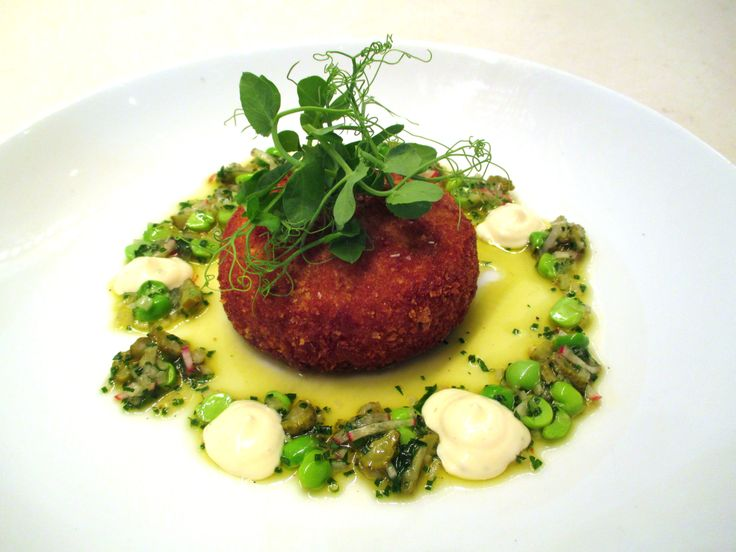 Sneak peek at some of our new menu items - coming soon! Crab Cake - spring pea & pickled relish, herb aioli