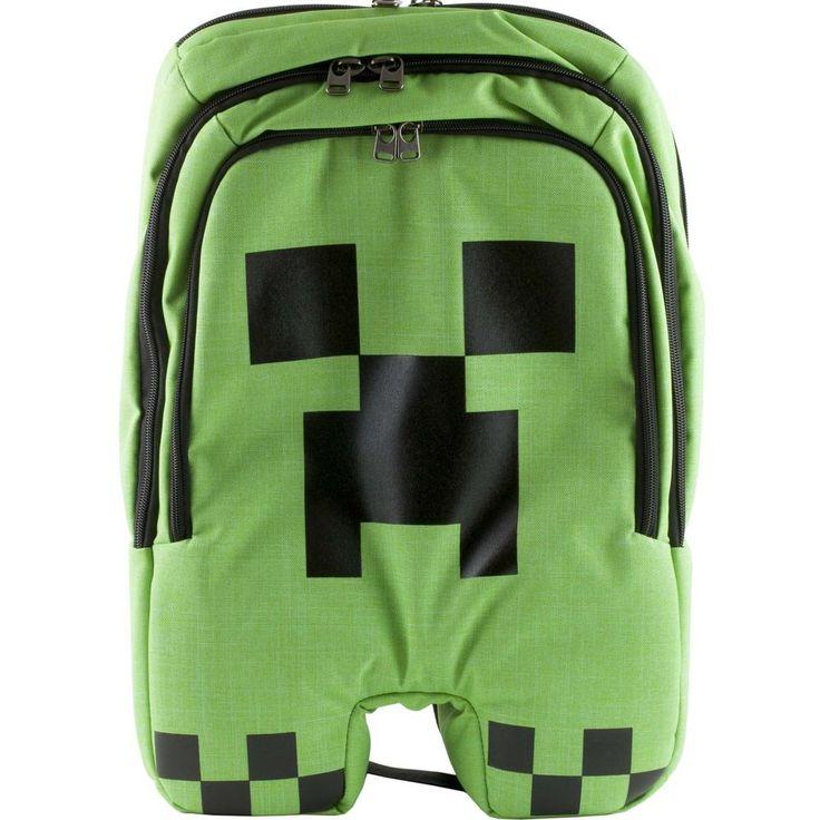 Minecraft Creeper Backpack School Book Bag Boys Kids NWT Green ...