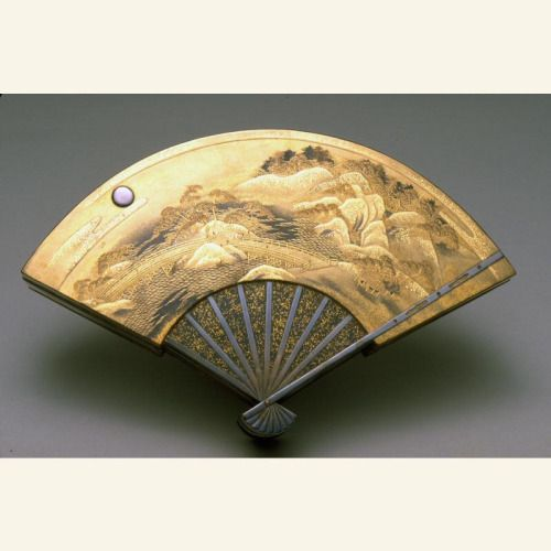 Fan-Shaped Box with Eight Views of Lake Biwa Japan, late Meiji era- early Taisho Era The Asian Art Museum